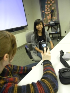 Students in the project recorded their stories, then worked with a transcription as they translated their stories to film.