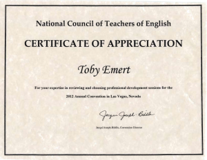Certificate from NCTE for reviewing conference programs, 2012