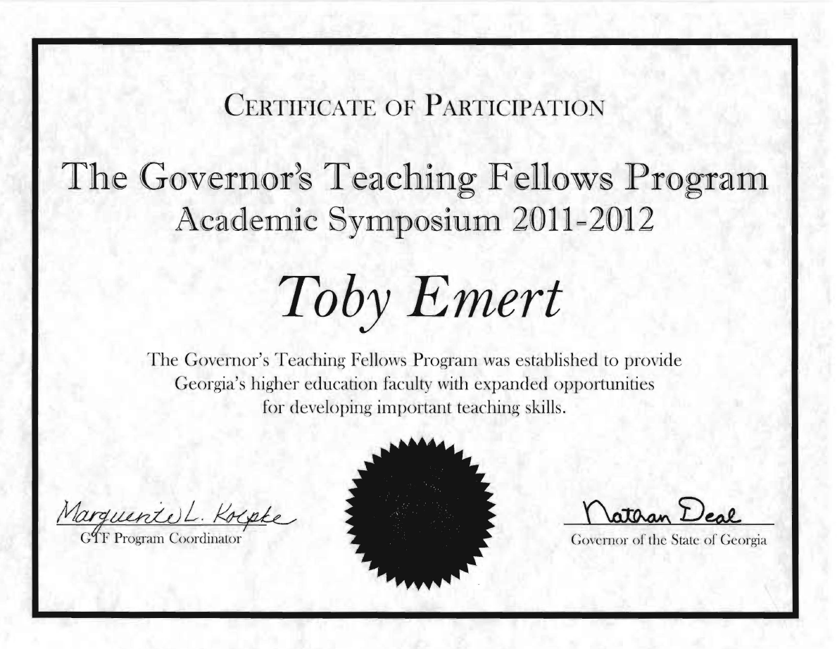 Leadership service toby emert phd certificate of participation georgia governors teaching fellows 2011 12 xflitez Gallery
