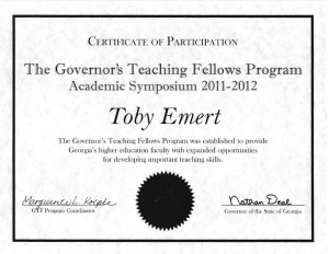 Certificate of Participation, Georgia Governor's Teaching Fellows, 2011-12