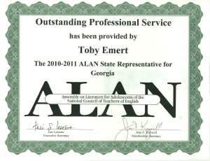 Certificate of Appreciation from ALAN, 2010-11