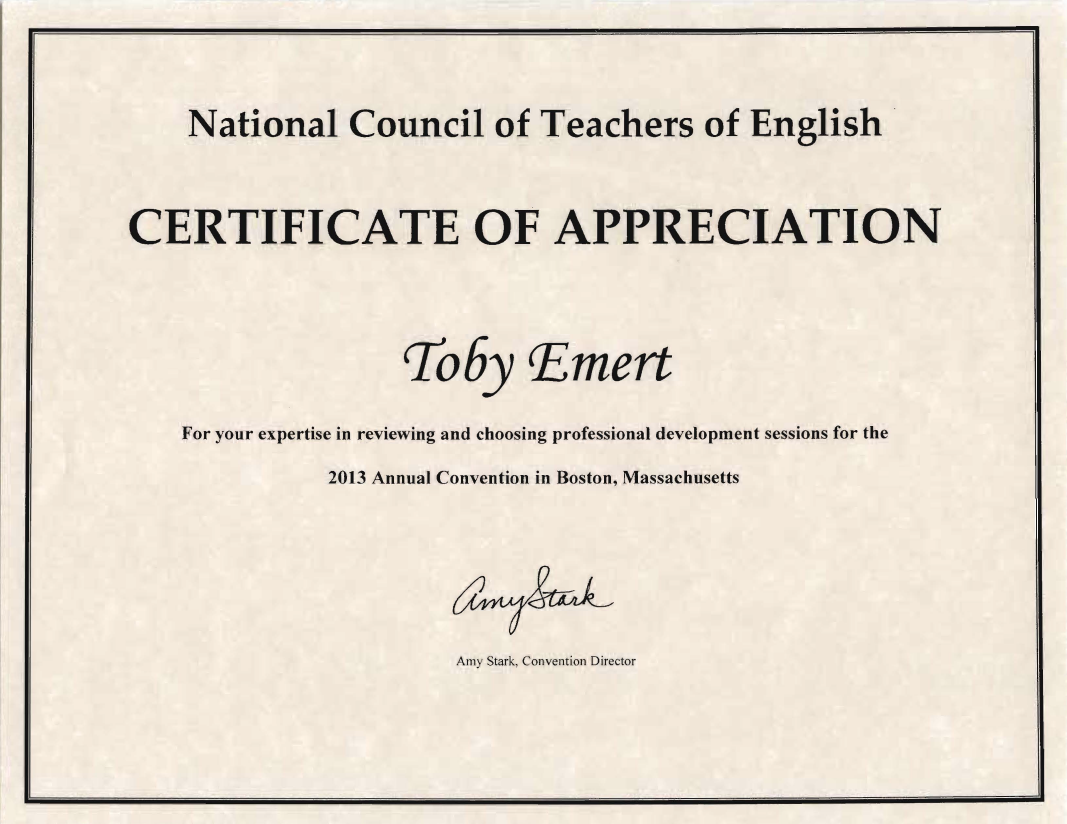 Leadership service toby emert phd certificate from ncte for reviewing conference programs 2013 yadclub Gallery