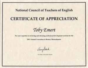 Certificate from NCTE for reviewing conference programs, 2013