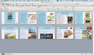 Screenshot of the PowerPoint outline of slides for Patel's presentation about David Wiesner